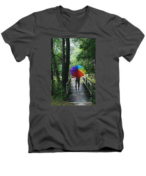 Rainy Day Men's V-Neck T-Shirt by Judy  Johnson