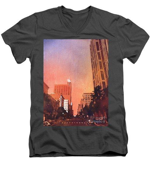 Raleigh Downtown Men's V-Neck T-Shirt by Ryan Fox