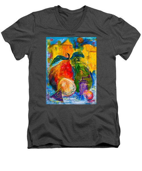 Red And Green Pears Men's V-Neck T-Shirt
