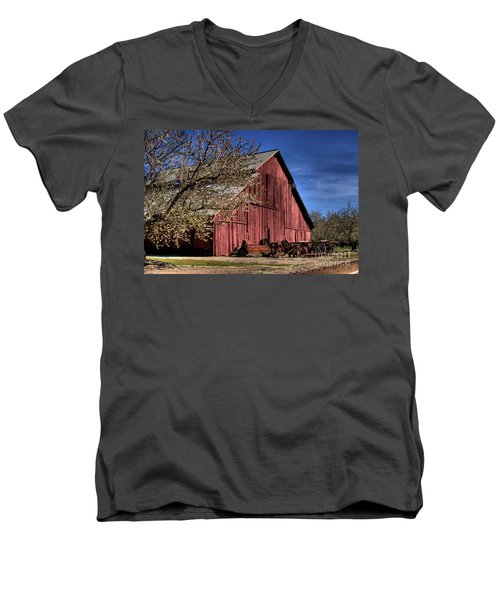 Men's V-Neck T-Shirt featuring the photograph Red Barn by Jim and Emily Bush