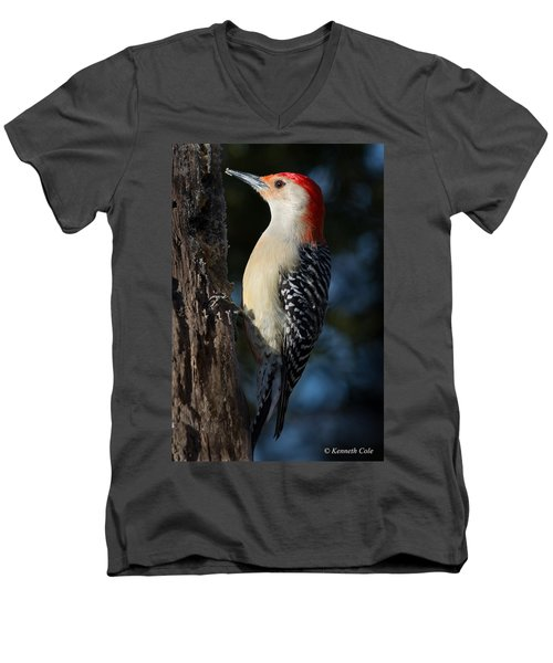 Red-bellied Woodpecker 3a Men's V-Neck T-Shirt by Kenneth Cole