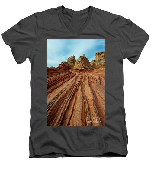 Men's V-Neck T-Shirt featuring the photograph Red Desert Lines by Mike Dawson