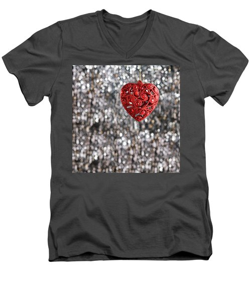Men's V-Neck T-Shirt featuring the photograph Red Heart by Ulrich Schade
