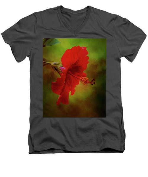 Red Hibiscus Art Men's V-Neck T-Shirt