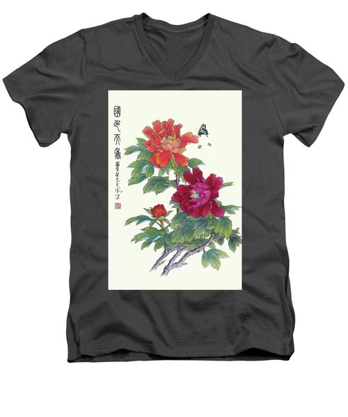 Red Peonies Men's V-Neck T-Shirt by Yufeng Wang