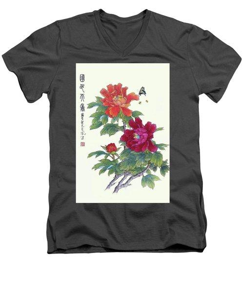 Red Peonies Men's V-Neck T-Shirt