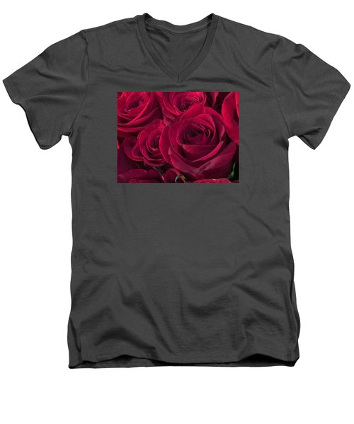 Men's V-Neck T-Shirt featuring the photograph Red Red Roses by Kay Gilley