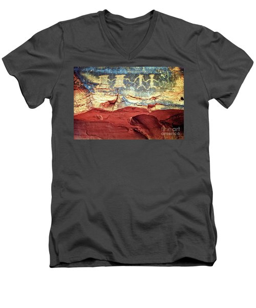 Red Rock Canyon Petroglyphs Men's V-Neck T-Shirt by Jim And Emily Bush