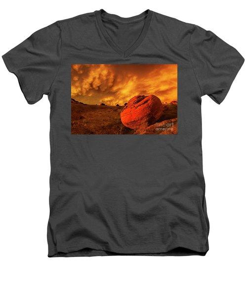 Red Rock Coulee Sunset 3 Men's V-Neck T-Shirt
