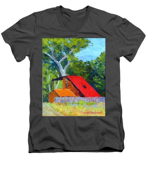 Red Roof Men's V-Neck T-Shirt by Susan Woodward