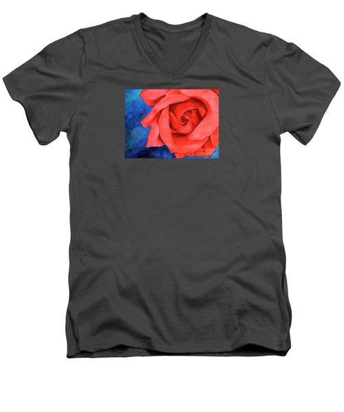 Red Rose Men's V-Neck T-Shirt by Rebecca Davis