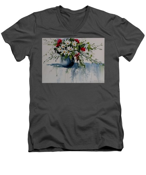 Red White And Blue Bouquet Men's V-Neck T-Shirt