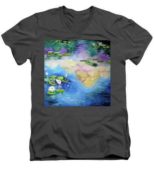 Reflections On A Waterlily Pond Men's V-Neck T-Shirt