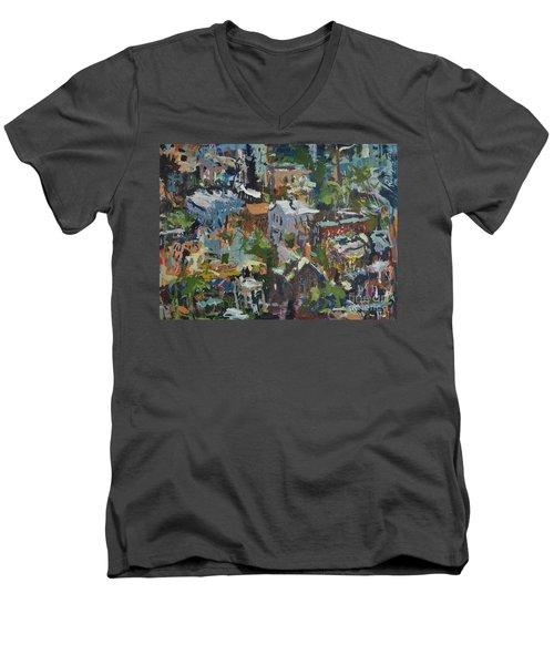 Richmond Virginia Cityscape Painting Men's V-Neck T-Shirt