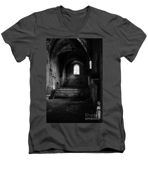Men's V-Neck T-Shirt featuring the photograph Rioseco Abandoned Abbey Nave Bw by RicardMN Photography