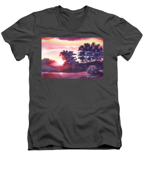 Men's V-Neck T-Shirt featuring the painting Road To Fargo by Marilyn Jacobson