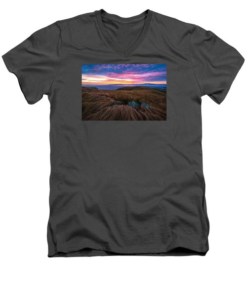 Roan Mountain Sunrise Men's V-Neck T-Shirt by Serge Skiba