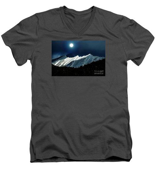 Rocky Mountain Glory In Moonlight Men's V-Neck T-Shirt by Elaine Hunter