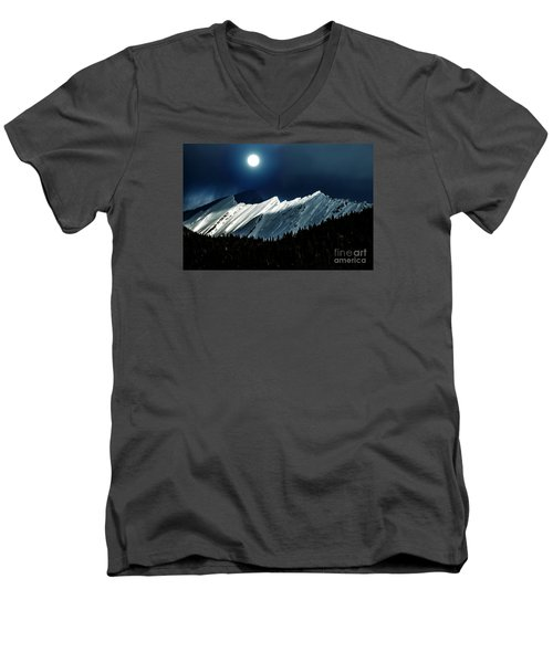 Rocky Mountain Glory In Moonlight Men's V-Neck T-Shirt