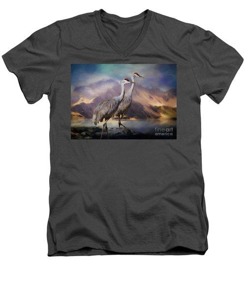 Rocky Mountain Sandhill Cranes Men's V-Neck T-Shirt