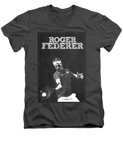 Roger Federer Men's V-Neck T-Shirt by Semih Yurdabak