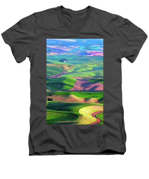 Green Hills Of The Palouse Men's V-Neck T-Shirt by James Hammond