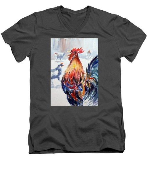 Rooster Men's V-Neck T-Shirt by Kovacs Anna Brigitta