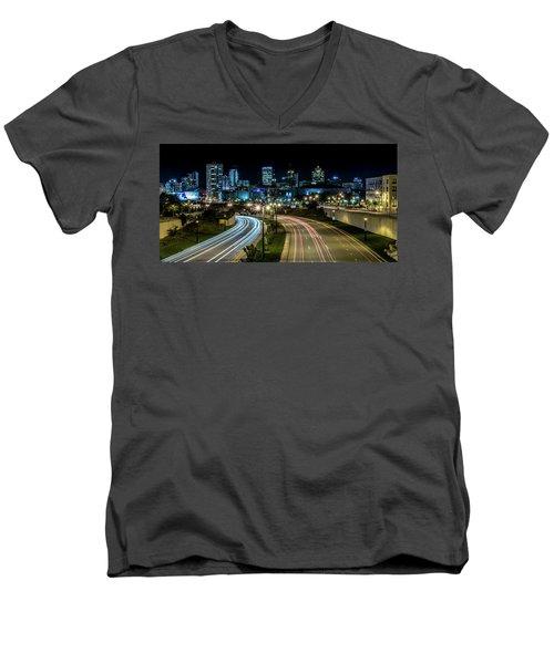 Round The Bend Men's V-Neck T-Shirt by Randy Scherkenbach