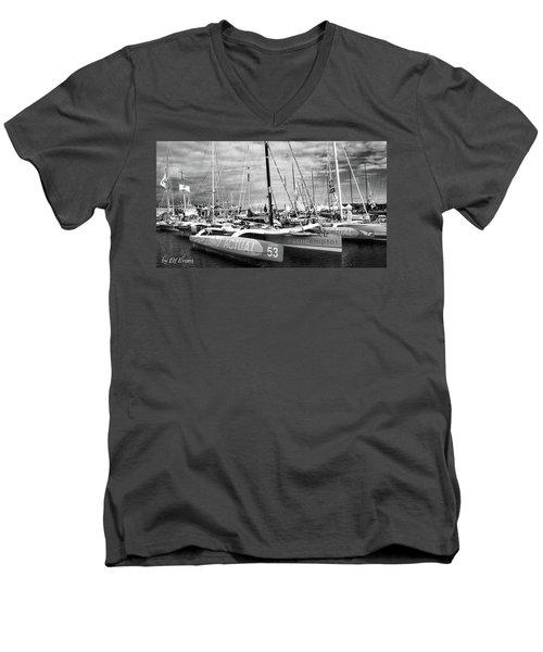 Men's V-Neck T-Shirt featuring the photograph Route Du Rhum Ready by Elf Evans