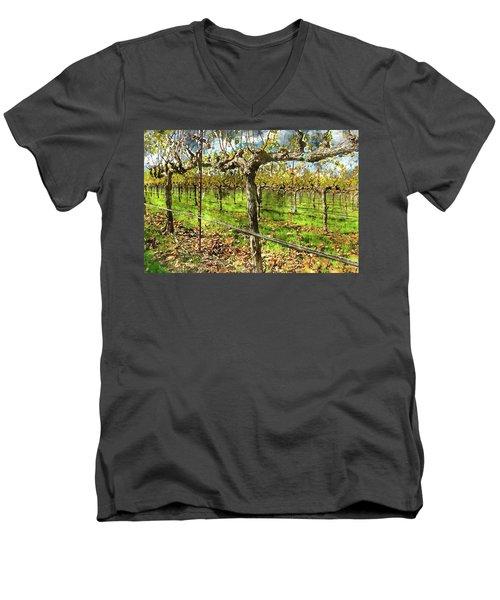 Rows Of Grapevines In Napa Valley Caliofnia Men's V-Neck T-Shirt