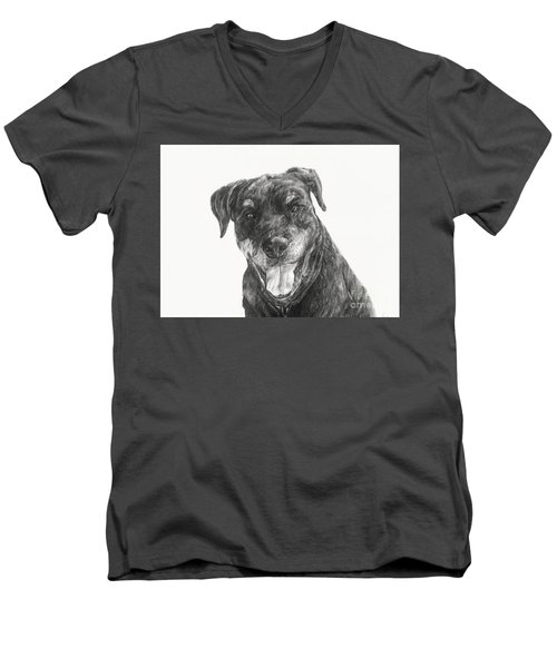 Men's V-Neck T-Shirt featuring the drawing Ruby  by Meagan  Visser