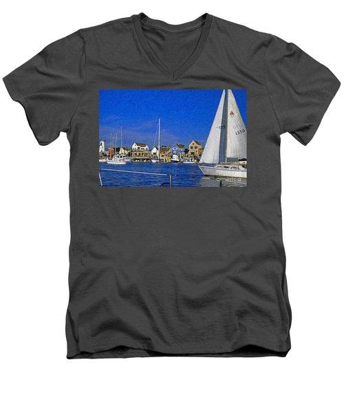 Men's V-Neck T-Shirt featuring the photograph Sailing Marina Del Rey Fisherman's Village by David Zanzinger
