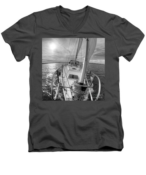 Sailing Yacht Fate Beneteau 49 Black And White Men's V-Neck T-Shirt