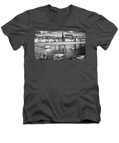 Men's V-Neck T-Shirt featuring the photograph Saint Servan Anse by Elf Evans