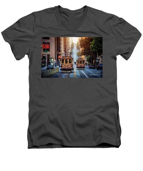 San Francisco Cable Cars Men's V-Neck T-Shirt by JR Photography