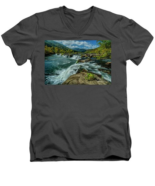 Sandstone Falls New River Men's V-Neck T-Shirt