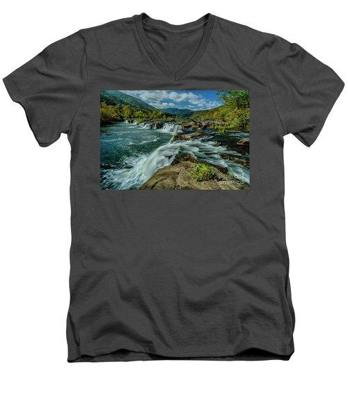 Sandstone Falls New River Men's V-Neck T-Shirt