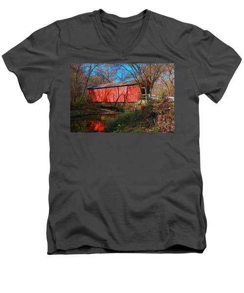 Sandy /creek Covered Bridge, Missouri Men's V-Neck T-Shirt
