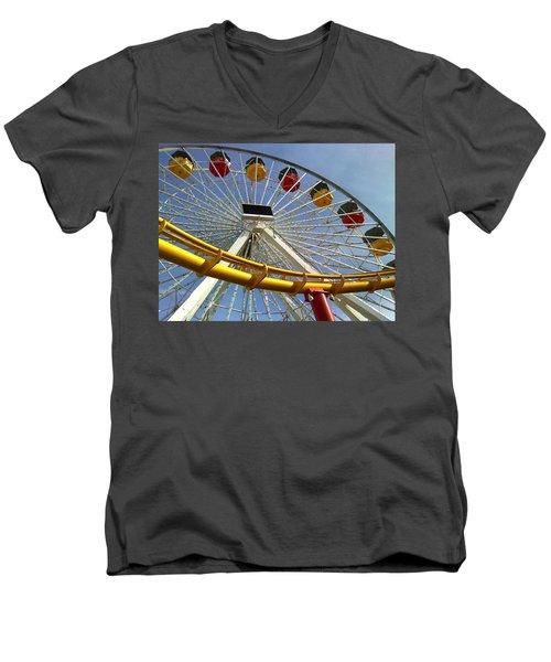 Santa Monica Pier Amusement Park Men's V-Neck T-Shirt