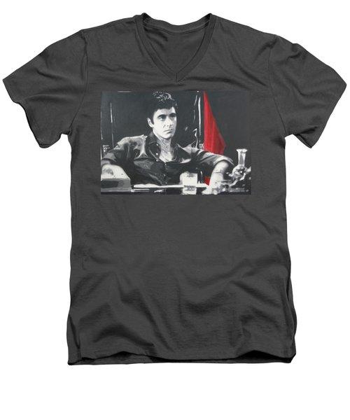 Scarface Men's V-Neck T-Shirt by Luis Ludzska
