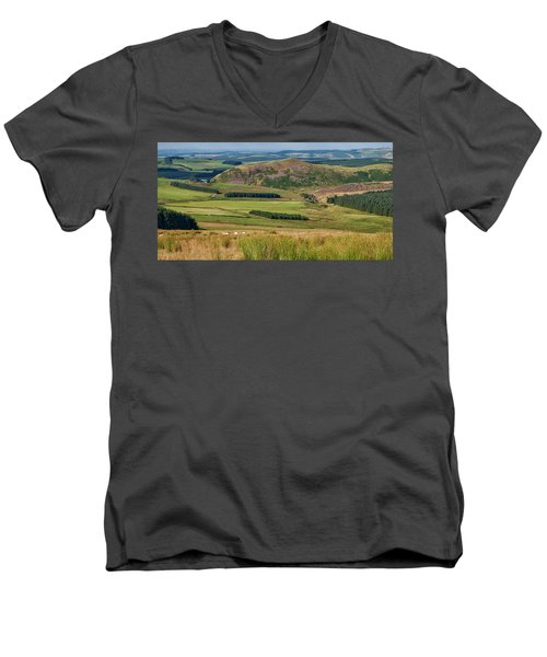 Scotland View From The English Borders Men's V-Neck T-Shirt by Jeremy Lavender Photography