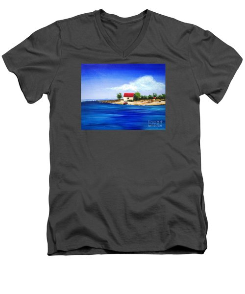 Men's V-Neck T-Shirt featuring the painting Sea Hill Boatshed - Original Sold by Therese Alcorn