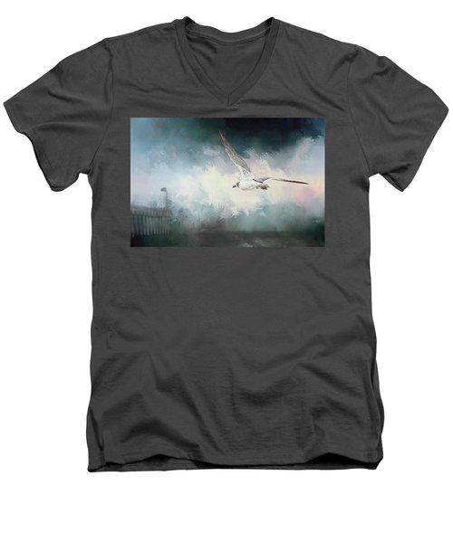 Seagull In Flight Men's V-Neck T-Shirt by Sennie Pierson