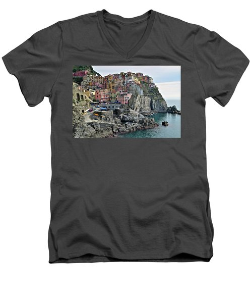 Men's V-Neck T-Shirt featuring the photograph Seaside Village by Frozen in Time Fine Art Photography