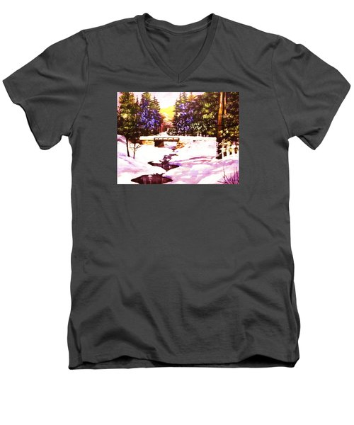 Men's V-Neck T-Shirt featuring the painting Seasonal  Change by Al Brown