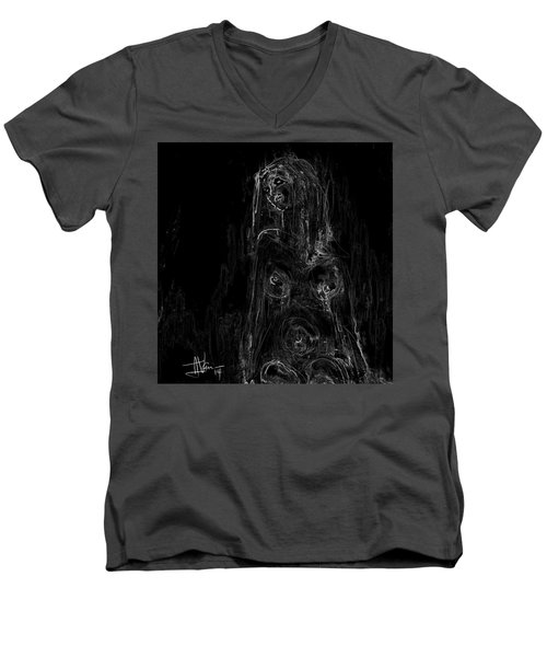 Men's V-Neck T-Shirt featuring the painting Seated Nude by Jim Vance