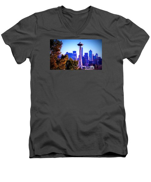 Seattle Afternoon Men's V-Neck T-Shirt by Martin Cline