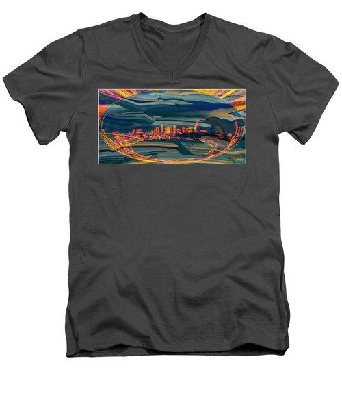 Men's V-Neck T-Shirt featuring the digital art Seattle Swirl by Dale Stillman