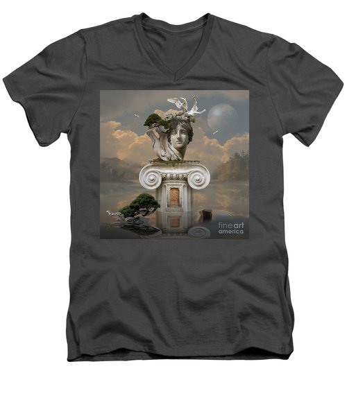 Men's V-Neck T-Shirt featuring the digital art Secret Place Of Atlantis by Alexa Szlavics