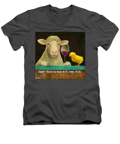 Sheep Faced On Wine With Some Chick... Men's V-Neck T-Shirt by Will Bullas